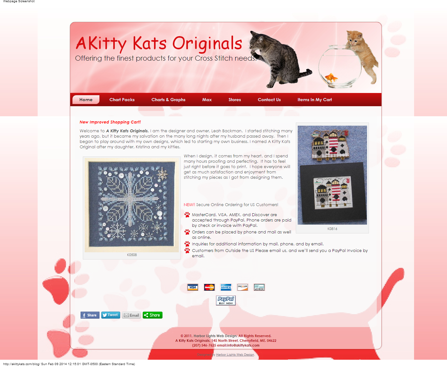 A Kitty Kats Originals Cross Stitch Cherryfield Maine (1)